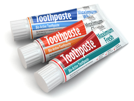 toothpaste: Three toothpaste containers on white isolated background. 3d Stock Photo