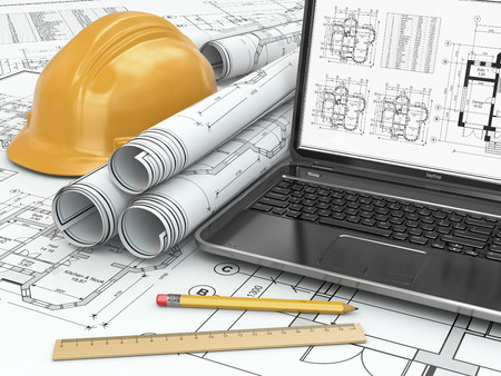 drafting tools: Laptop and blueprint with house project. 3d