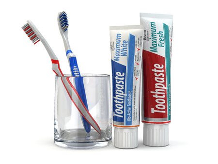 Dental protection, Toothpaste and toothbrushes on white isolated