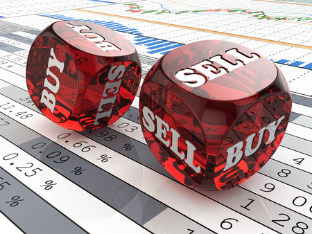 buying stock: Stock market concept. Dice on financial graph. 3d