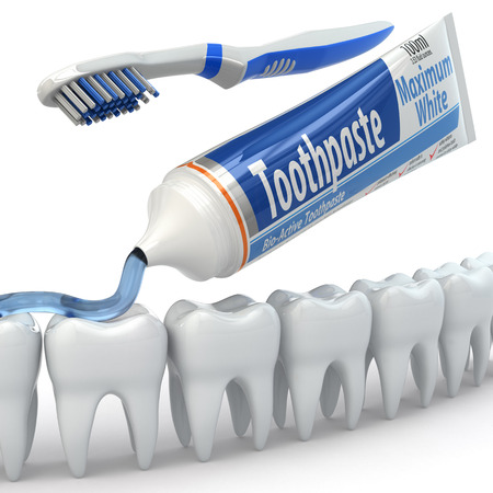 Dental protection, Teeth, toothpaste and toothbrushes. 3d