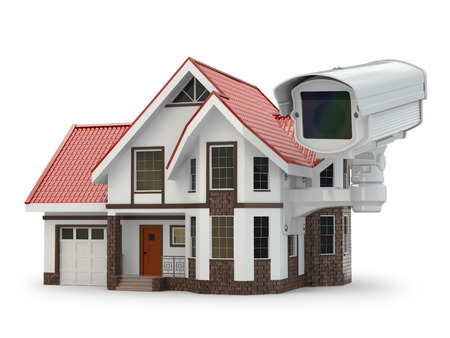 Security CCTV camera on the house. 3d photo