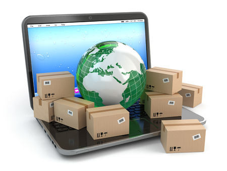 internet shopping: World wide delivering. Earth and boxes on laptop. 3d