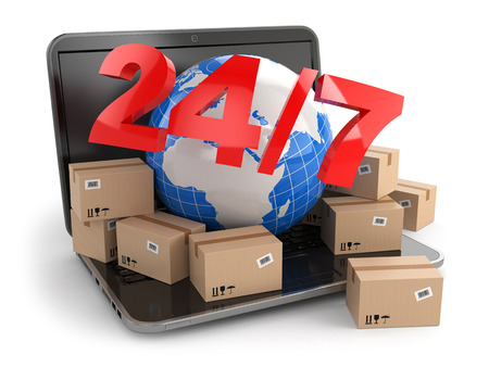 World wide delivering. Earth and boxes on laptop. 247. 3d photo