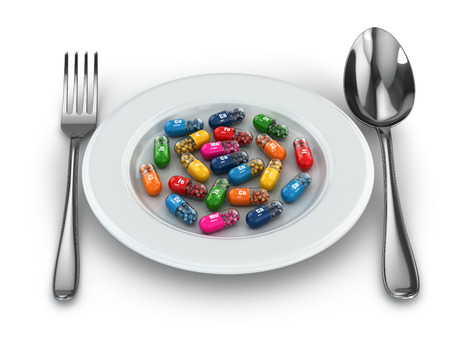 dietary supplements: Dietary supplements. Variety pills. Vitamin capsules on plate. 3d Stock Photo