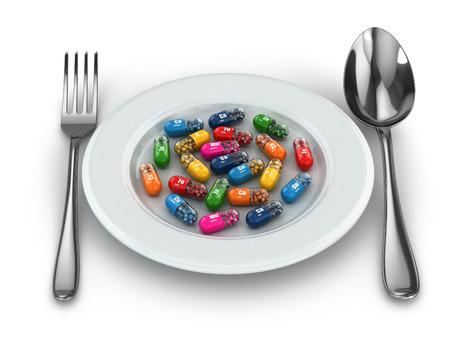 Voedingssupplementen. Variety pillen. Vitamine capsules op plaat. 3d
