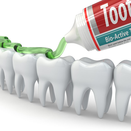 pasta dental: Protección dental, dientes y pasta de dientes sobre fondo blanco. 3d
