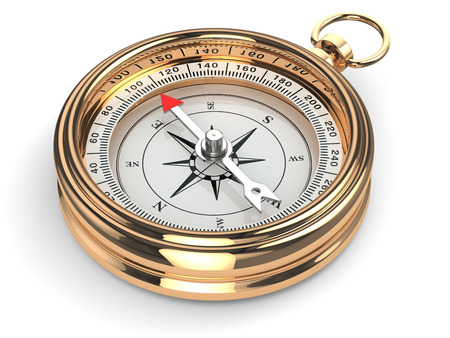 Gold compass on white isolated background. 3d Reklamní fotografie - 26148696