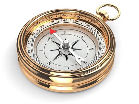 Gouden Kompas op een witte achtergrond geïsoleerd. 3d Stockfoto