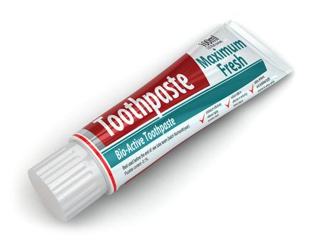 Tandpasta container op een witte achtergrond geïsoleerd. 3d Stockfoto