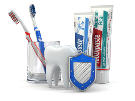 Dental protection, Tooth, shield, toothpaste and toothbrushes. 3d photo