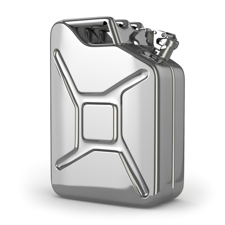 petrol can: Jerrycan. Metal canister on white isolated background. 3d Stock Photo