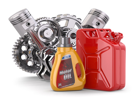 Engine, motor oil canister and jerrycan. 3d photo