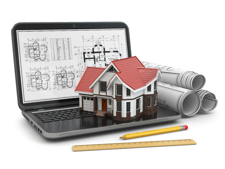 building plans: Laptop, house and blueprint with project. 3d Stock Photo