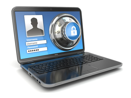 インター ネット セキュリティ。ノート パソコンと安全ロック。3 d 写真素材