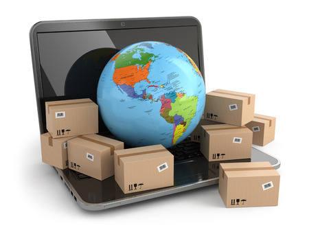 World wide delivering. Earth and boxes on laptop. 3d photo