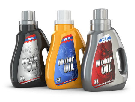 Motor oil canister on white isolated background. 3d photo
