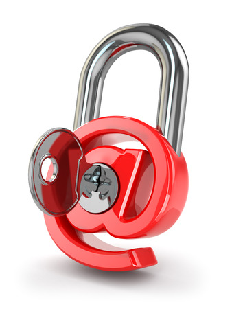 E-mail protection. At as lock and key. 3d Stock Photo