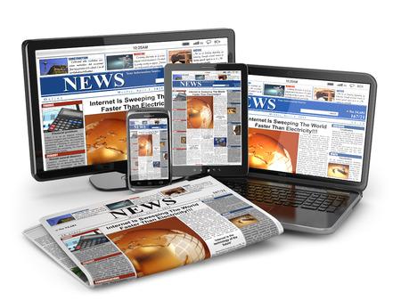뉴스. 미디어 개념입니다. 노트북, 태블릿 PC, 전화 및 신문. 3D
