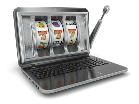 slot: Online gambling concept. Laptop slot machine. 3d