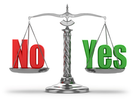 Choosing  yes or no. Scales on white isolated background. 3d photo