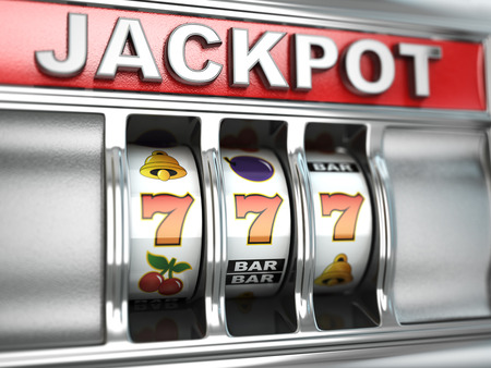 Jackpot en la máquina tragaperras. Imagen tridimensional. 3d