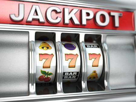 maquinas tragamonedas: Jackpot en la máquina tragaperras. Imagen tridimensional. 3d