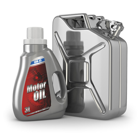 Motor oil canister and jerrycan of petrol or gas. 3d Stock Photo