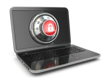 bug key: Internet Security.  Laptop and safe lock. 3d