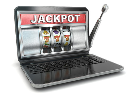 operated: Laptop as slot machine Stock Photo
