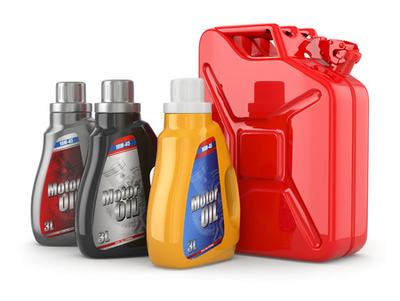 Motor oil canister and jerrycan of petrol or gas. 3d photo