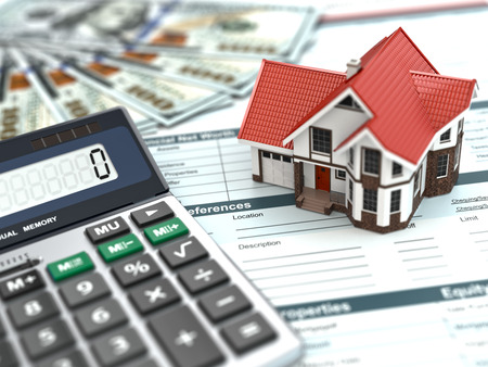 Mortgage calculator. House, noney and document. 3d photo
