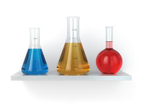 retort: Chemical flasks on the shelf