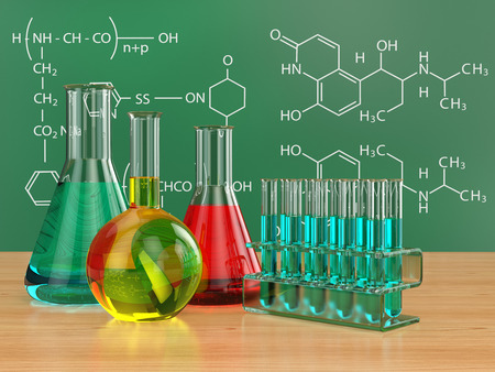 Chemical flasks and blackboard with formulas. 3d Фото со стока