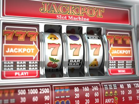 Jackpot en la máquina tragaperras Foto de archivo