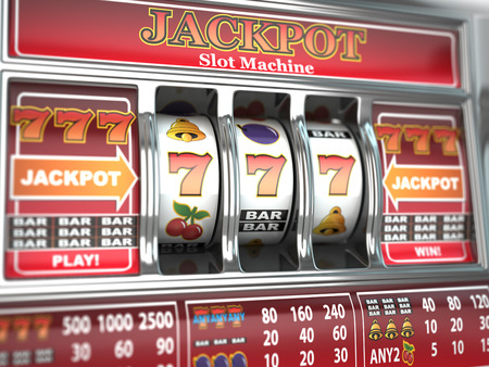 tragamonedas: Jackpot en la máquina tragaperras Foto de archivo