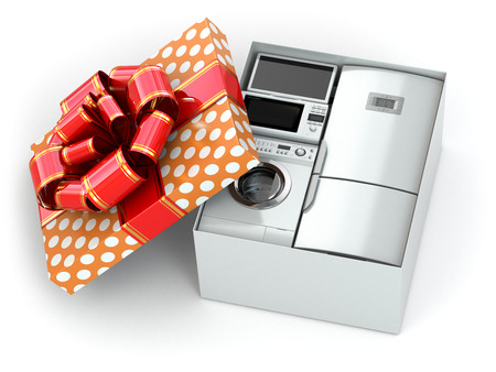 Home appliance in gift box with ribbons and bow 3d photo