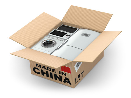 made in china: Home appliance in box. Made in China. 3d Stock Photo