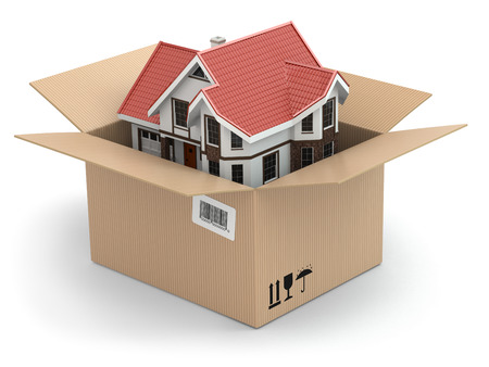 unpacking: Moving house. Real estate market. Three-dimensional image. Stock Photo