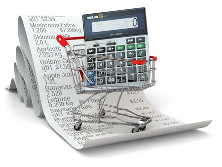 ahorros: Carro de compras con la calculadora en el recibo. 3d