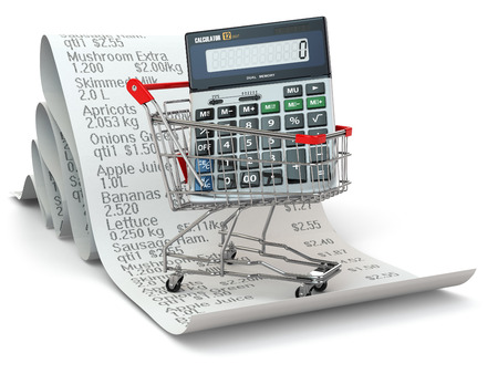 Shopping cart with calculator on reciept. 3d photo