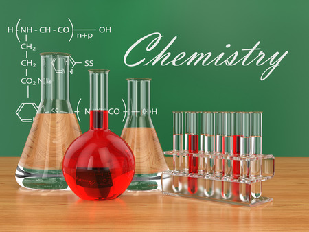 Chemical flasks and blackboard with formulas. 3d photo