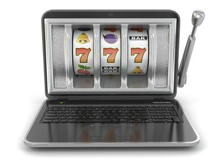 tragamonedas: Concepto de juego en l�nea. M�quina de ranura del ordenador port�til. 3d Foto de archivo