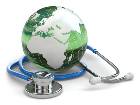 world communication: Global healthcare. Earth and stethoscope on white isolated background. 3d Stock Photo