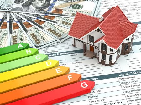 economizing: House energy efficiency concept. Real estate, money and rating.