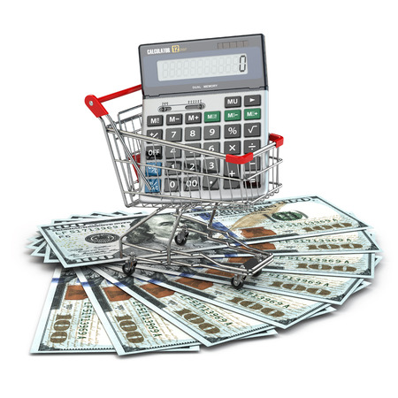 Shopping cart with calculator on dollar banknotes. 3d photo