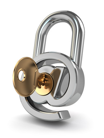 E-mail protection. At as lock and key. 3d photo