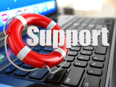 supporting: Support. Laptop and lifebuoy on laptops keyboard. 3d Stock Photo