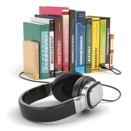 medium shot: Audiobook concept. Headphones and books on white isolated background.