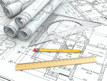 drafting tools: Concept of drawing. Blueprints and drafting tools. 3d Stock Photo